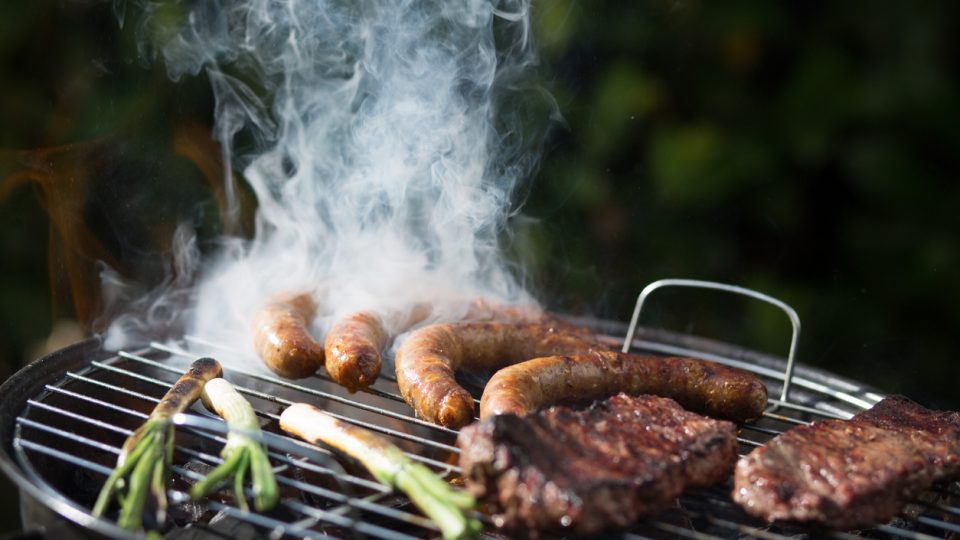 Scallion, Sausages And Pork On Barbecue